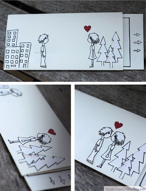 Für alle, die ihre Frühlingsgefühle zum Ausdruck bringen wollen, gibt es hier eine Idee, für die Ihr lediglich Papier, Kleber, Stifte und Cutter braucht. Die Karte lässt sich einfach auseinander ziehen, sodass sich die Figuren auf der Karte Küssen und … weiterlesen