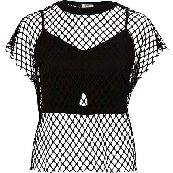 River Island Black mesh bralette T-shirt (€44) ❤ liked on Polyvore featuring tops, t-shirts, black, crop tops / bralets, women, crew-neck tee, mesh crop top, tall tees, bralet crop top and crew neck t shirt