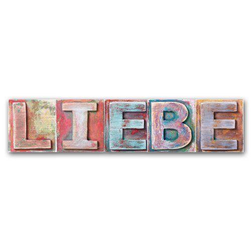 Ideal cuadros lifestyle Holzkreidewort LIEBE Wanddeko im angesagten shabby chic design Ma e
