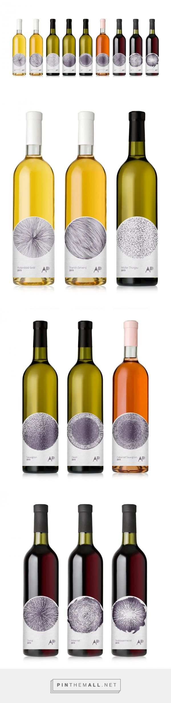 Aperun Wines packaging by MAISON D'IDÉE curated by Packaging Diva PD. Bringing back traditional approach with the use of hand drawn illustration, in combination with lowered position of the label. The shape of the label serves as an accent to the spherical illustrations.