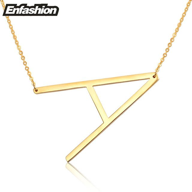 Daily Deals $7.20, Buy Fashion Letter Necklaces Pendants Alfabet Initial Necklace Gold ColorStainless Steel Choker Necklace Women Jewelry Kolye Collier