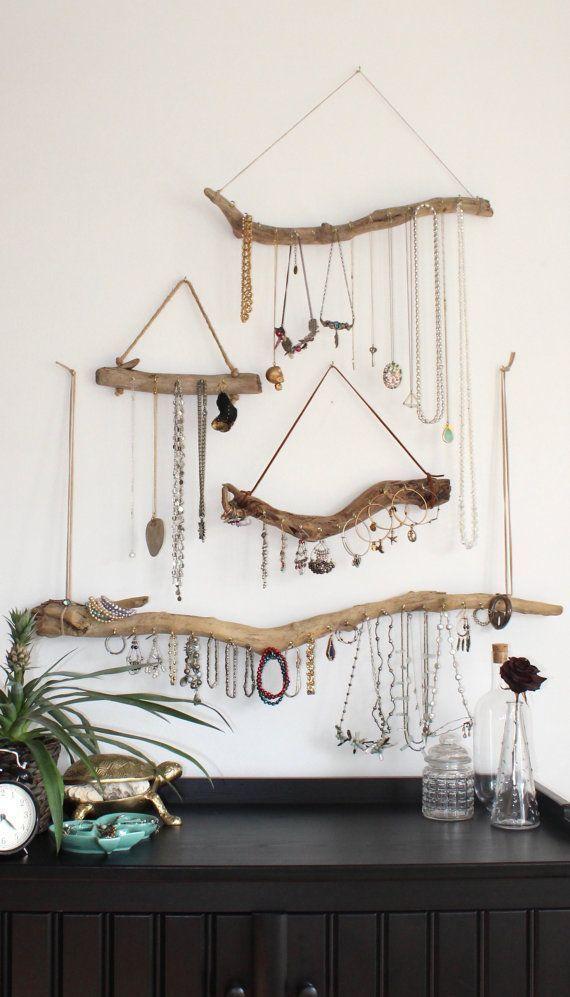 Driftwood Jewelry Organizer Wall Art Jewelry Display Wood Jewelry Holder Necklac