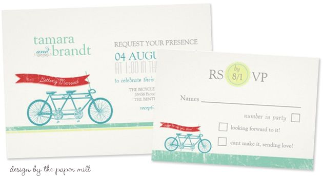 tandem bicycle wedding invitation rsvp card by the paper mill Party Simplicity Bicycle Wedding Trend
