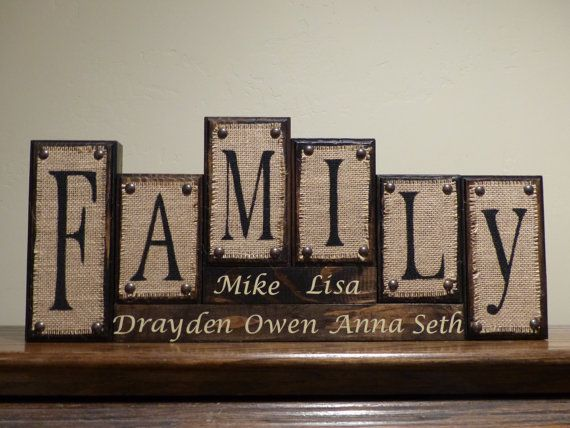 Burlap Letter Blocks Family Custom Rustic Letter by TarasBlocks
