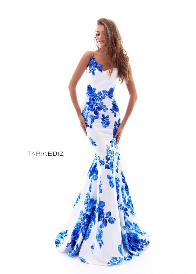 67bdd2024b3 Tarik Ediz- Prom 2018 Collection Style  50228 - Floral prom dress with transparent  back and bow.