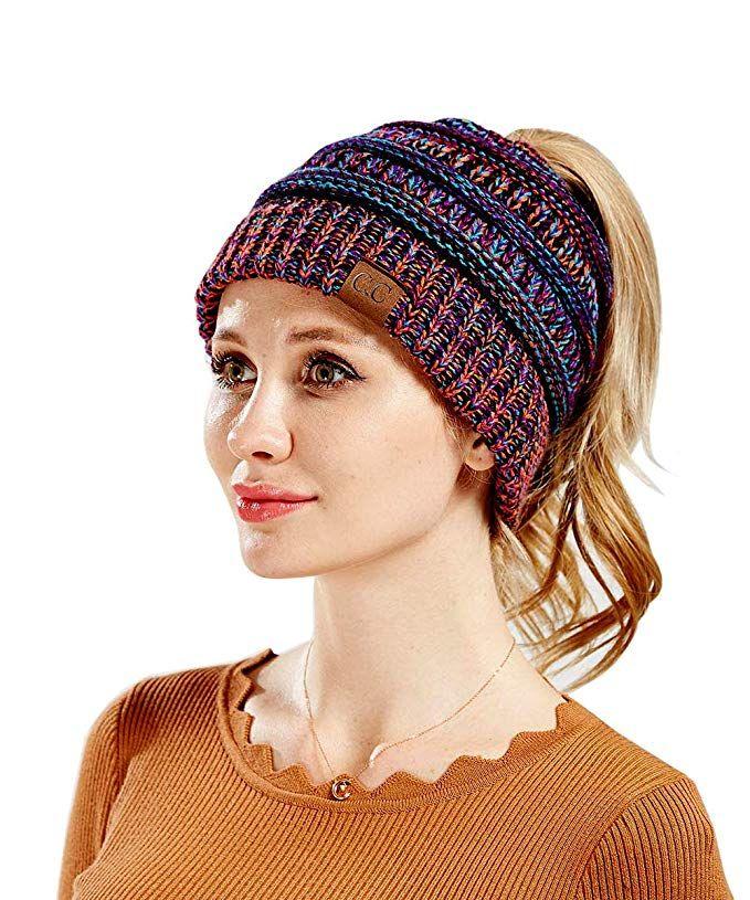 370f2a097de C.C Trendy Purple BeanieTail Soft Stretch Cable Knit Messy High Bun Ponytail  Beanie Hat