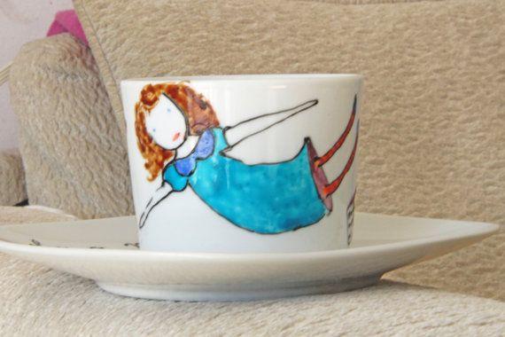 ooak cup Hand painted cup fairytale girl by NataliesWunderland