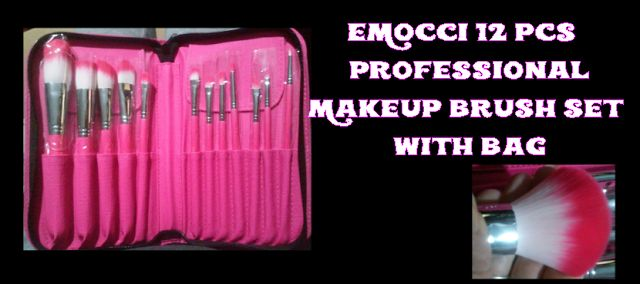 EMOCCI 12 Pcs Best Professional Makeup Brush Set with Bag