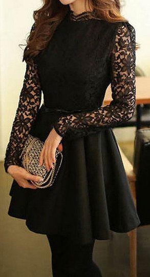 Black Lace-Bodice Dress