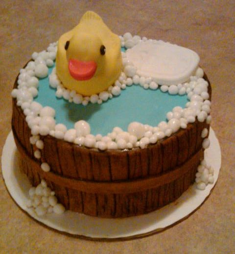 Rubber Duck Cake - Rubber duck is rice crispy treat covered with fondant.