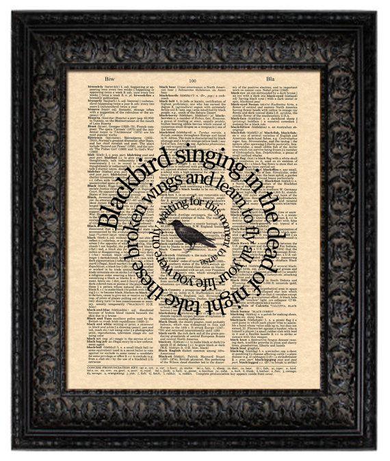 The Beatles Blackbird Art Print, Blackbird Song Lyric Art, Beatles Art Print, Vintage Dictionary Art, Book Page Art, Spiral Word Art, 8x10