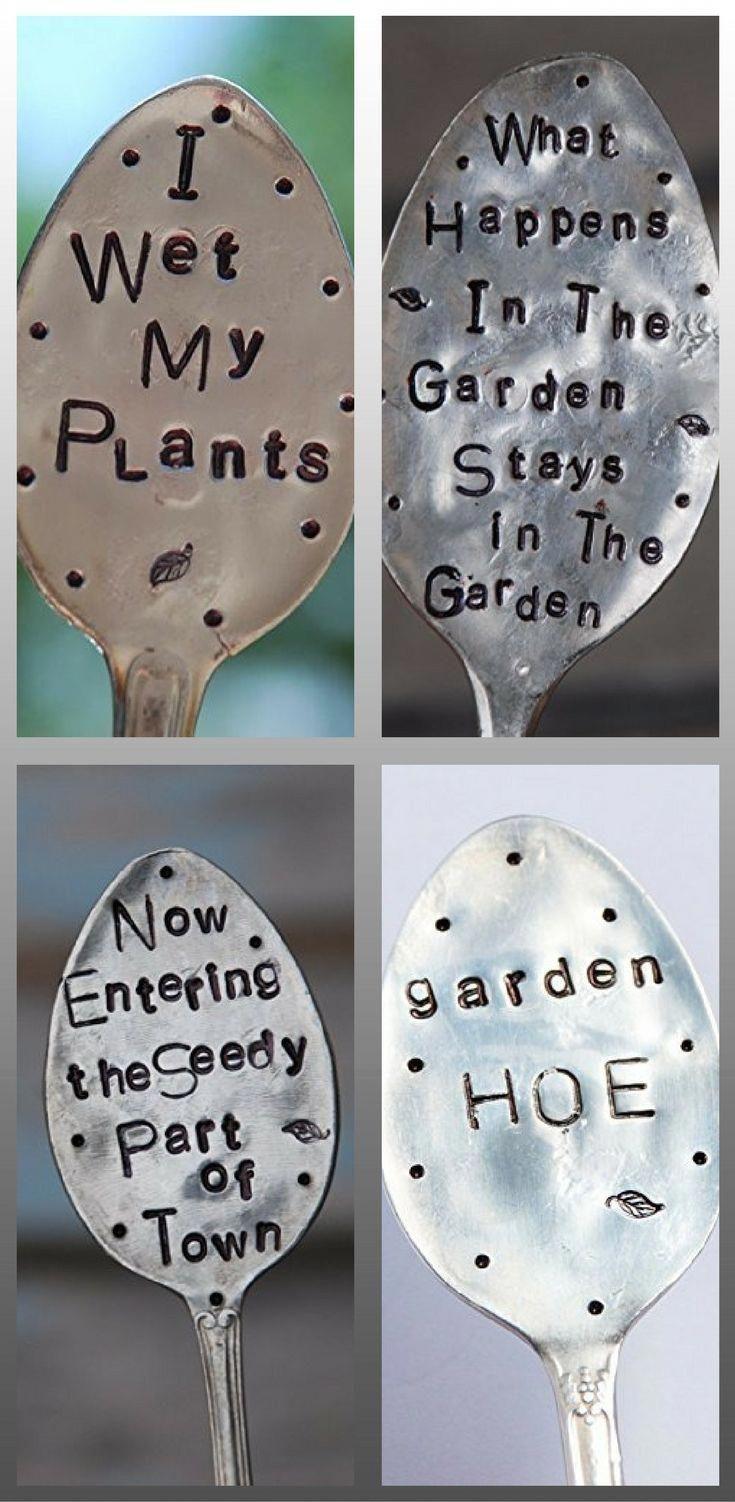 Stamped spoon garden markers. Vegetable garden markers ideas #gardenideas – Growing Organically