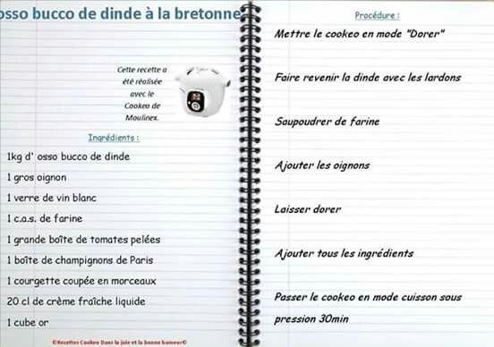 Osso bucco de dinde la bretonne plats cookeo - Comment cuisiner osso bucco de dinde ...