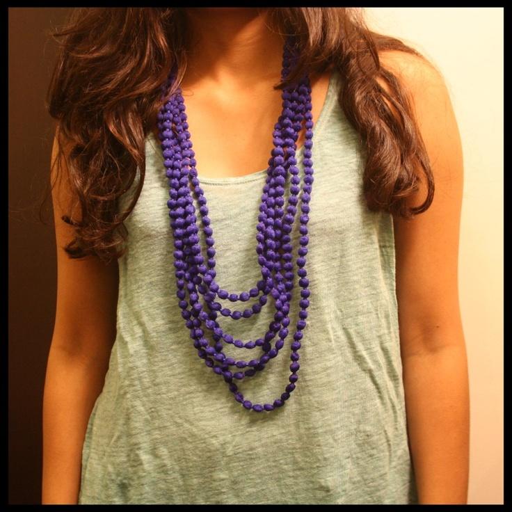 Blue long pom pom necklace