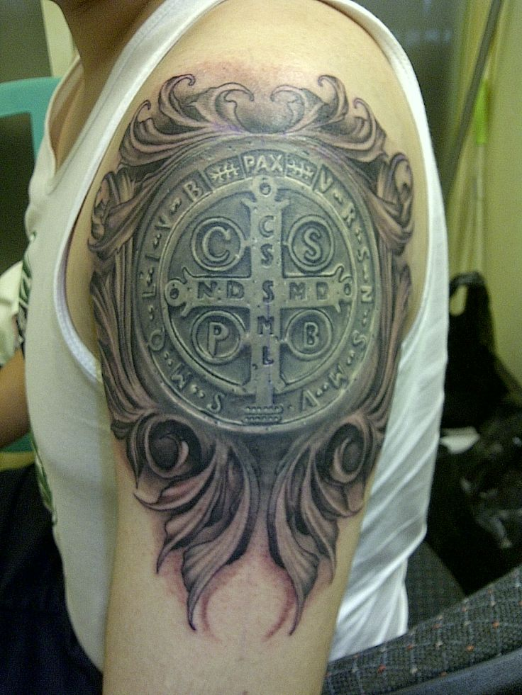 http://www.everytattoo.com - Happy Feast Day of St. Benedict - this is a tattoo of the famous St. Benedict Medal or St. Benedict Cross - See https://www.pinterest.com/pin/400116748118958334/ for more info