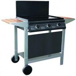 Barbecue à gaz PUERTA BUNDA - Allumage intégré dans chaque bouton, couvercle de protection avec coulisses, 2 grilles en acier émaillé et 1 plancha en fonte émaillée, tiroir récupérateur de graisse. Fonctionne au gaz butane ou propane.