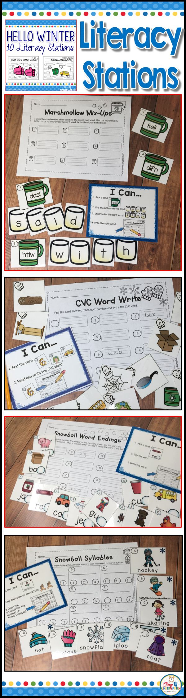 Winter literacy stations for kindergarten are perfect for January.  !0 Fun winter themed centers focussing on sight words, syllables, ending sounds, vowels, rhyming and so much more.