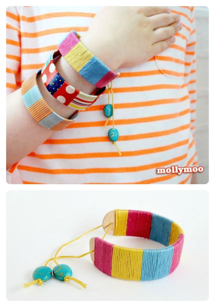 Bracelet Popsicle Stick Craft for Kids [From the Mamas] - #kids #craft