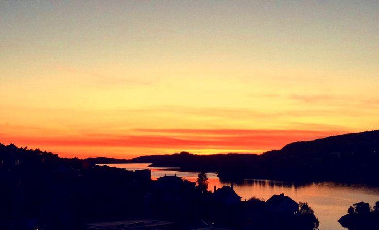 Norway Bergen Eidsvåg Sunset summer view