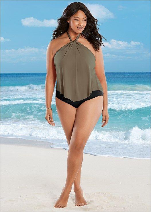 d8a16af4d760b Venus Women's Plus Size High Neck Flounce One-Piece Swimsuit - Black/brown  , 22