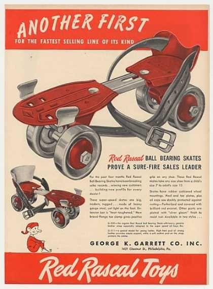 Red Rascal Ball Bearing Roller Skates Trade (1947)...Loved my roller skates!