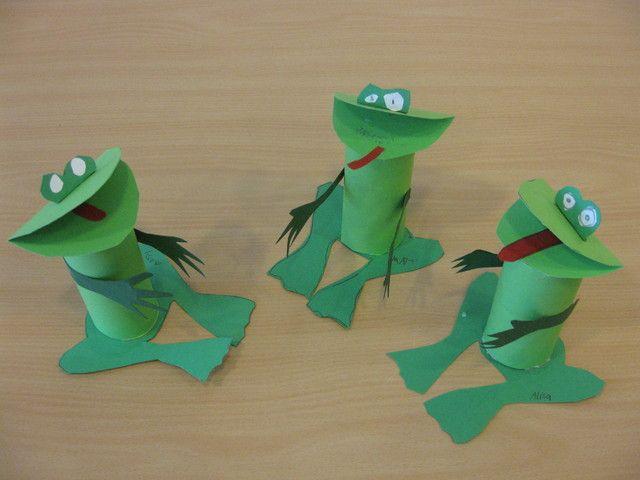 """kikkers ( gemaakt van een iets uit elkaar getrokken wc rolletje, zo lijkt het bij """"indrukken""""of de kikker echt beweegt)"""