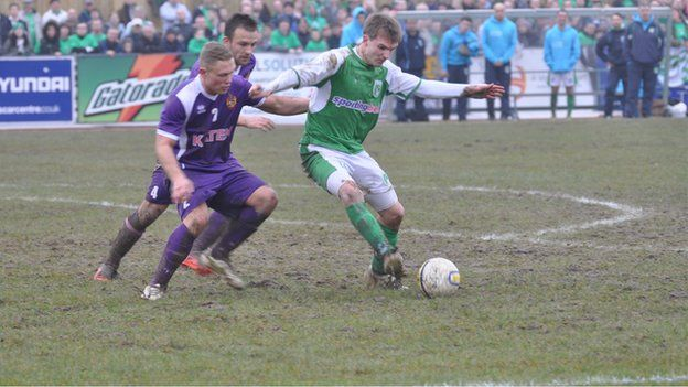 BBC (23rd March 2013) Guernsey FC face an uphill struggle to reach the FA Vase final after going down 3-1 to favourites Spennymoor Town in their semi-final first leg.
