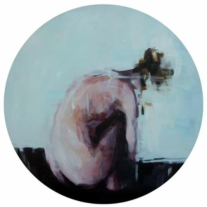 Jantien de Boer, The performance, 2015, oil on board, 70 cm.