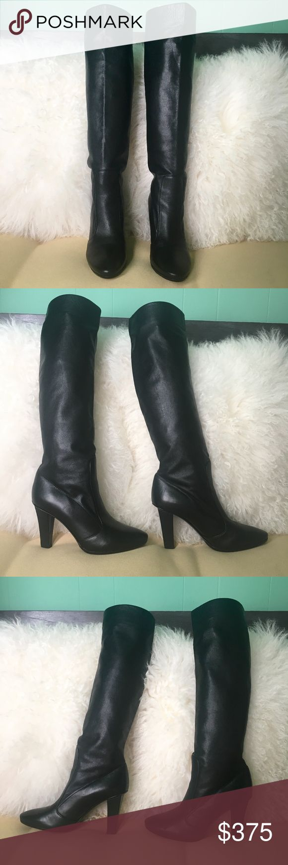 """Jimmy Choo Black High Heel Knee Boots Size 36.5 Gorgeous Jimmy Choo High Heel Knee High Boots.  Amazing, buttery soft leather, sexy, chic silhouette.  Pull on Style.  Unmistakable Jimmy Choo craftsmanship.      Measurements (approx):   Shaft:  14"""" Heels:  3""""  True Choo Sizing  Worn only once!  Professionally resoled to protect leather soles.  Shiny layer on soles scuffed off after first wear, not worn since.  Two nicks on heels also professionally repaired.  Not noticeable when worn.  Please…"""