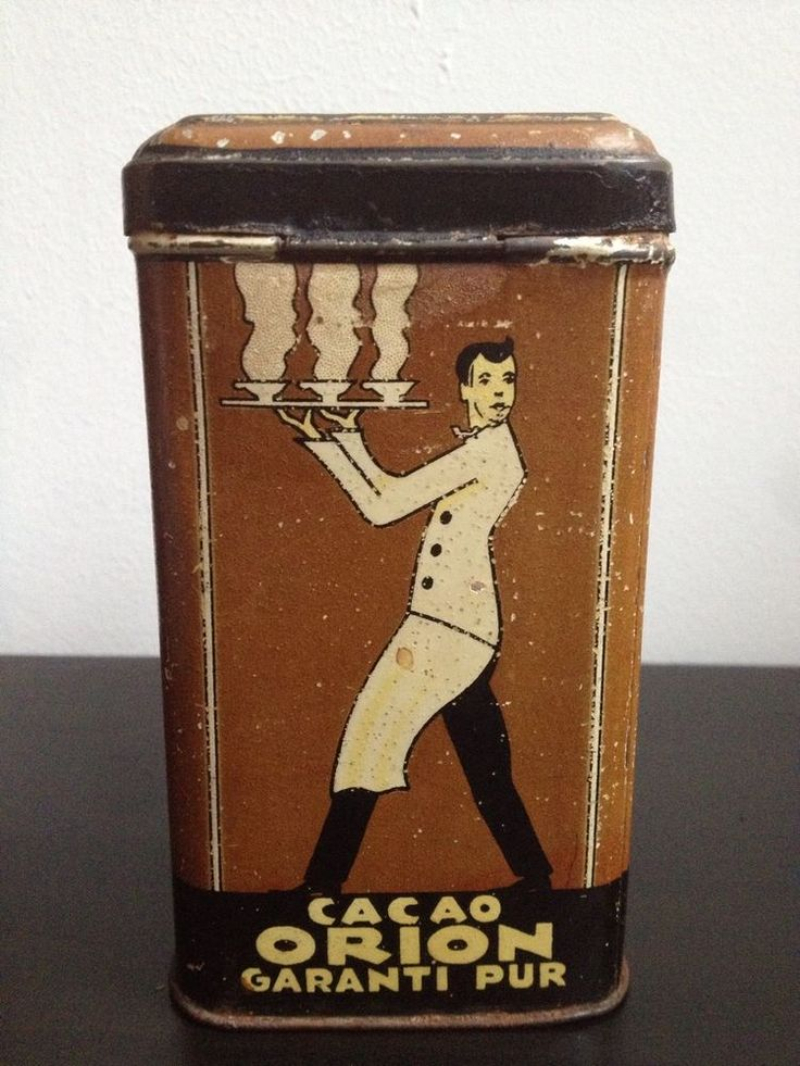 Rare Art Deco 1920's Cacao Orion Tin - Servant/Waiter Images - Alte Blechdose