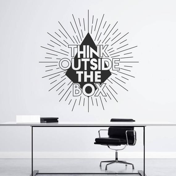 Think Outside The Box Wall Sticker Office Wall Decal Decor Etsy Office Wall Decals Wall Decals Office Wall Art