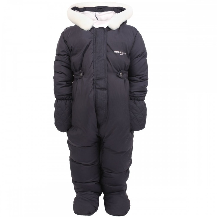 BOXING WEEK SALE. Burberry Baby navy padded snowsuit with white faux fur trim. Sale from $330.00 to $165 #burberry