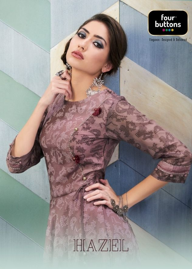 62f9eb4fb4 Four Buttons Hazel Heavy Designer Party Wear Printed Pure Viscose Chanderi  Long Gown Style kurtis Readymade Collection