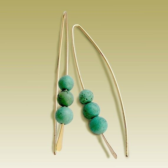 14K yellow gold filled long hook earrings with turquoise stones 14K gold filled, garnet beads.  Approximately height: 49mm (1.96in). $48
