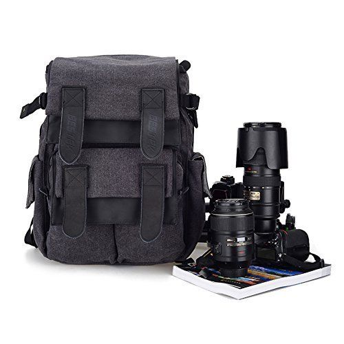BESTEK DSLR Camera / Laptop Multifunctional Backpack Bag Professional Large Waterproof Canvas Rucksack for Canon Nikon Sony Panasonic and more SLR