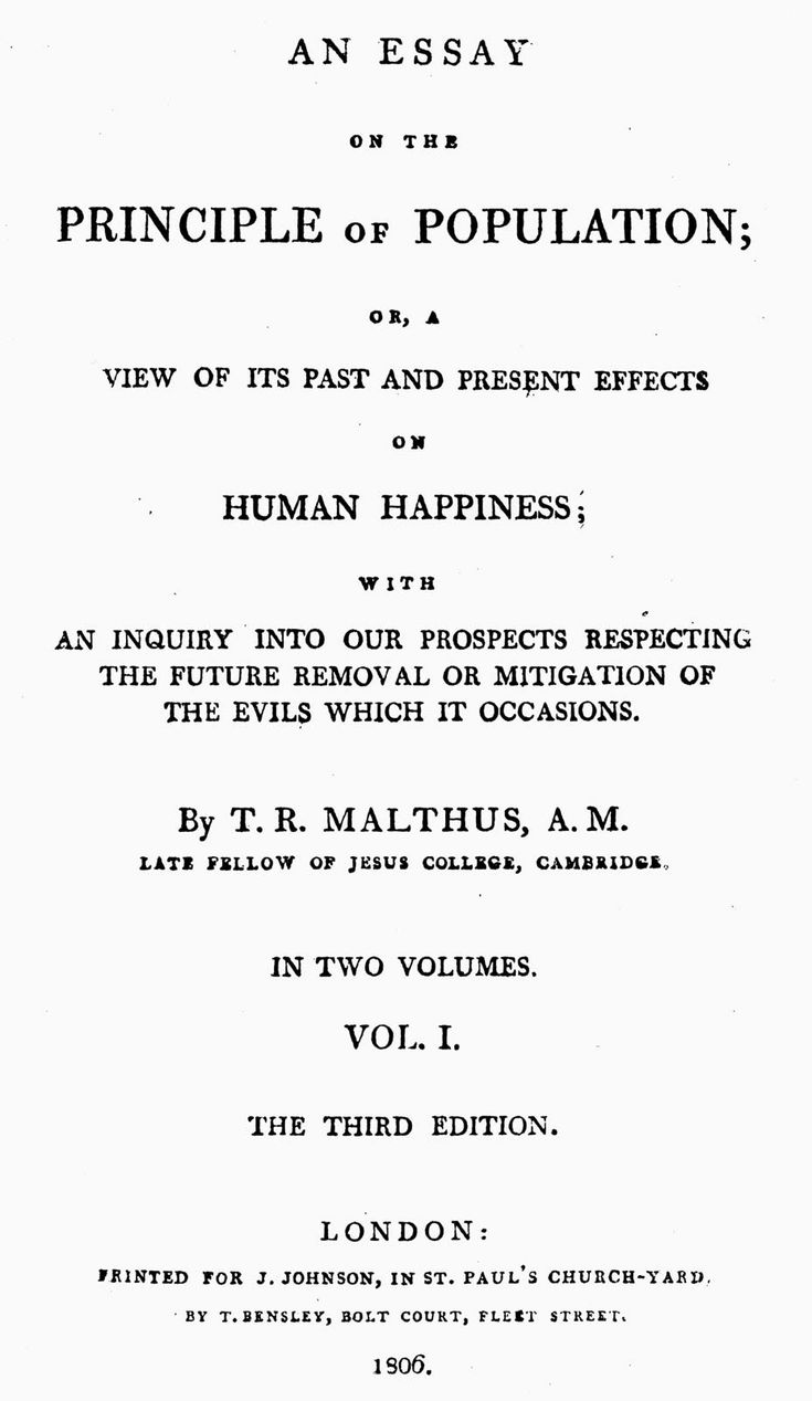 What idea did malthus introduce - Malthus Thomas Robert Title Page Of An 1806 Edition Of An Essay On