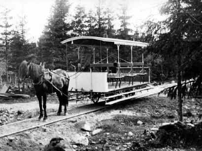 Helsinki, hevosraitiovaunu Lauttasaaressa 1913-17. HKM