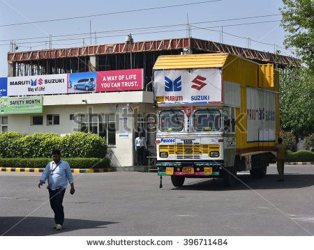 Editorial: Manesar, Gurgaon, Haryana, India: March 27th, 2016: Maruti Suzuki plant gate in Manesar, National Capital Region (NCR) of Delhi. Maruti Suzuki is leading car manufacturer in India - stock photo