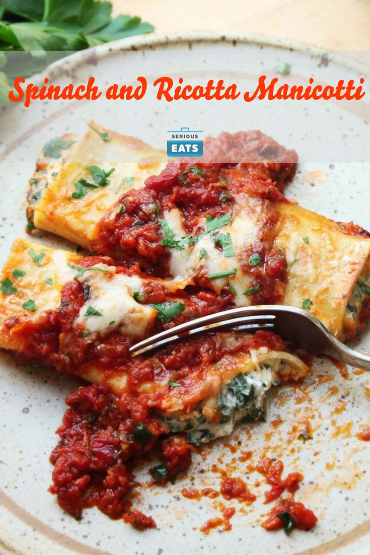 Classic Italian-American ricotta and spinach manicotti, made with fresh pasta and a few little tricks.