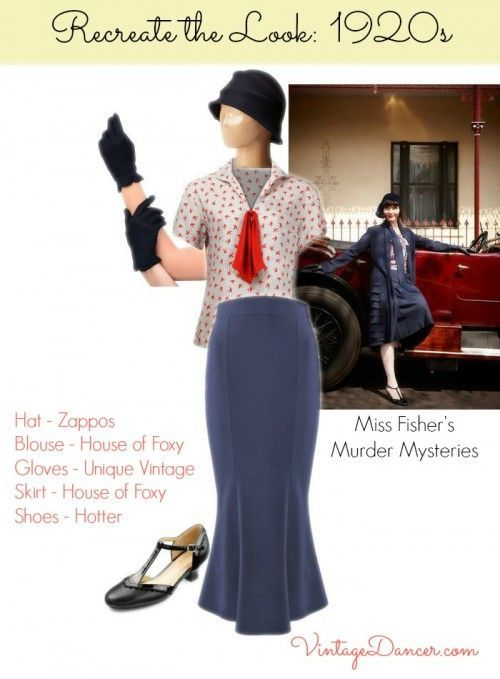 Late 1920s, 1930s style clothing inpired by costumes of Miss Fisher Murder Mysteries. Get the look at VintageDancer.com/1920s