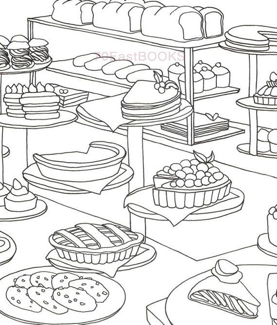 Only Bakery Coloring Book for adult Food Cake Desert