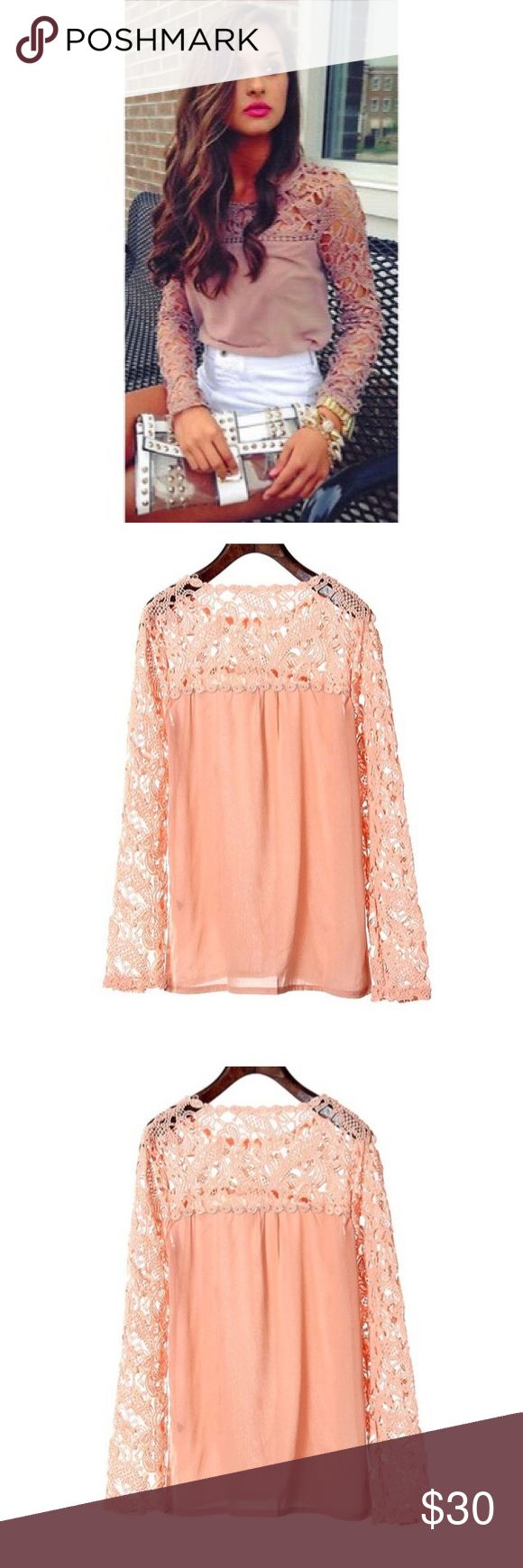 ✨Lace Long Sleeve Blouse✨ ✨Sexy Slim tshirt women Women Lace Crochet Embroidery Tops Long Sleeve Shirt Casual T shirt . Color:Peach✨ Tops Tees - Long Sleeve