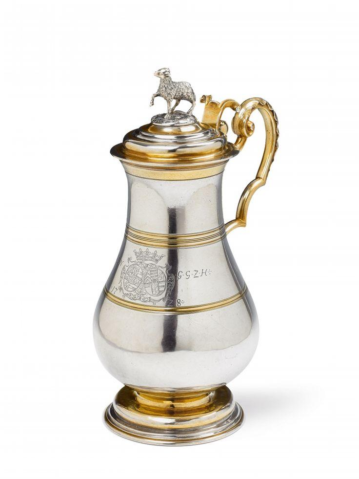 Johann II Pepfenhauser, Marks of Johann II Pepfenhauser, 1728.An important partially gilt Augsburg silver communion jug made for the counts of Nassau-Saarbrücken, Auction 1066 Decorative Arts, Lot 1038 #lempertz #silver #artdeco #art #artauction #cologne