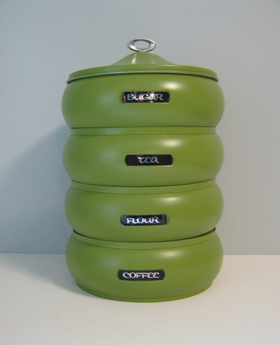 Kitchen Canister: Kitchen Stackable Canister, Stacked Set, Metal Kitchen  Containers, Four And Lid, Avocado Green, Sugar Coffee Tea Flour
