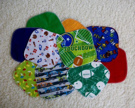 12 Cloth Baby Wipes Sports Baby Washclothes by TheTwistedK on Etsy