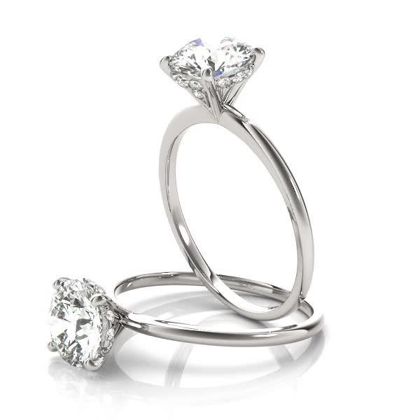 Engagement Ring -Classic Delicate Solitaire Engagement Ring with Diamond Accents-ES1704