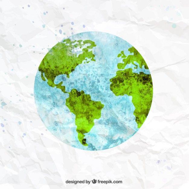 Die Erde in Aquarell-Stil