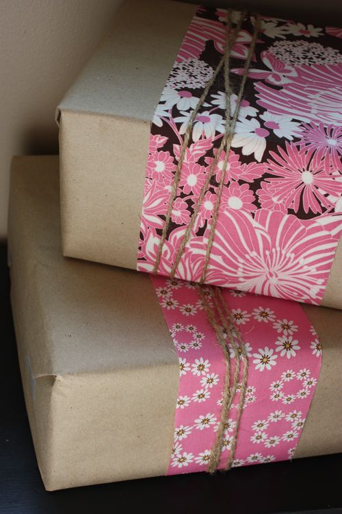 cute wrapping with fabric
