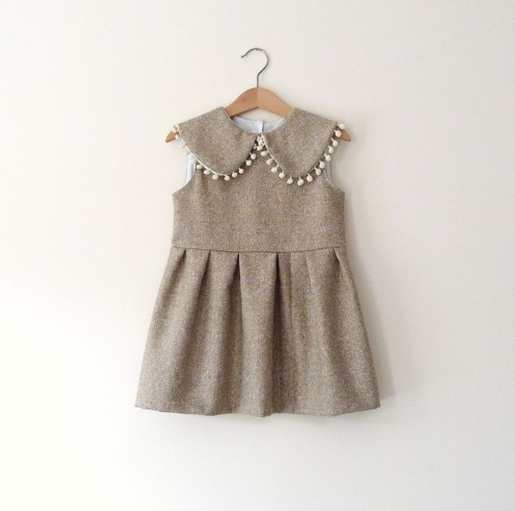 Fall Wool Dress in Sand With Peter Pan Collar and Pom-Poms.. $62.00, via Etsy.