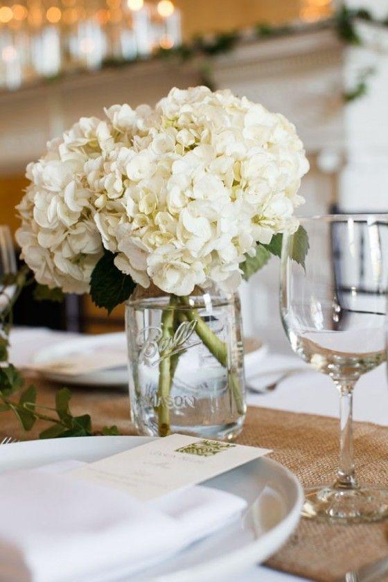 White Hydrangea in Mason Jar Centerpiece  Wilder Mansion. Dennis Lee Photography. Sweetchic Events.